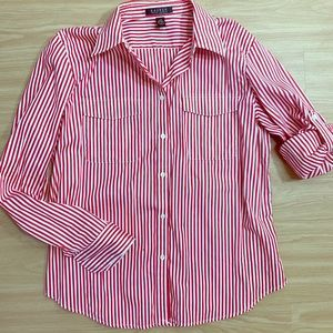 LAUREN red & white striped button up blouse size L